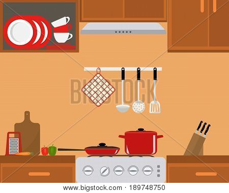Fragment of a kitchen interior. There is a red saucepan and frying pan on the stove.  Also there are plates, cups, grater, cutting board and a set of knives in the picture. Vector illustration