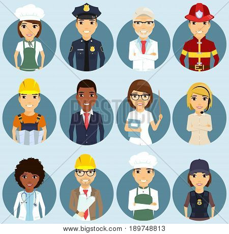 Set of icons depicting professions. Different ethnically. Professionals in their field. Smile. In flat style.