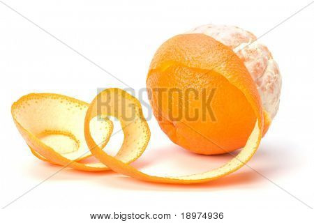 orange with peeled spiral skin isolated on white background