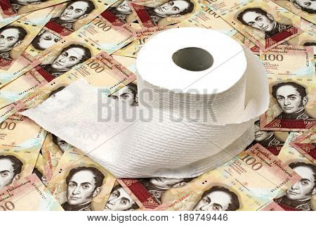 Venezuelan currency close up with toilet paper