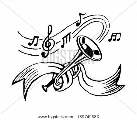 trumpet and notes tied with ribbon. sketch vector.