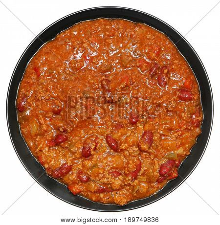 Bowl of Beef and Bean Chili Isolated Over White
