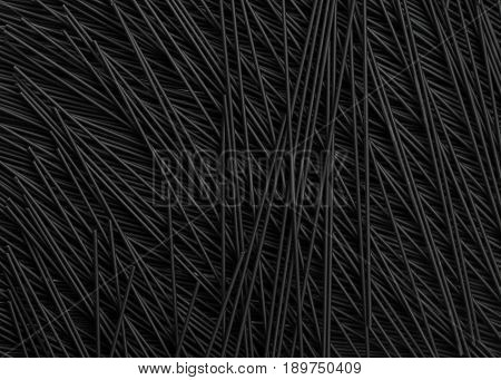 full image of black squid ink spaghetti. Food background with a pasta in different direction to course dramatic effect, copy space ideal for type