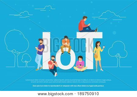 Internet of things concept illustration of people standing outdoors and using mobile smart phones for online managing of connected devices. Flat men and women standing near IoT letters on blue background