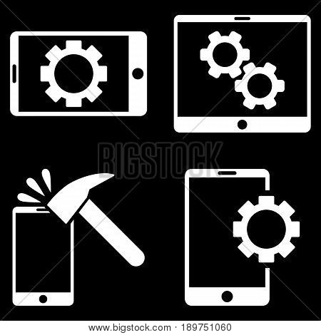 Mobile Options vector icon clip art. Collection style is white flat symbols on a black background.