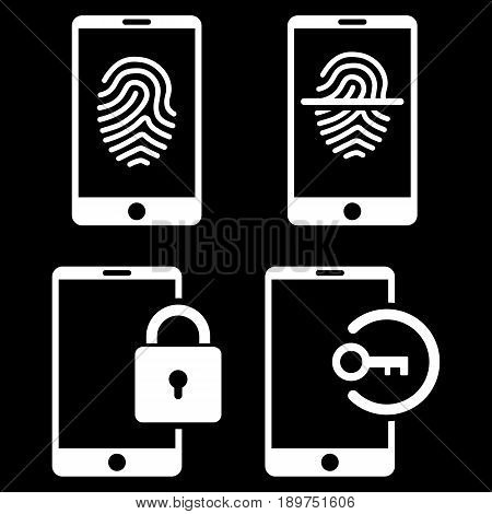 Smartphone Identification vector icon clipart. Collection style is white flat symbols on a black background.