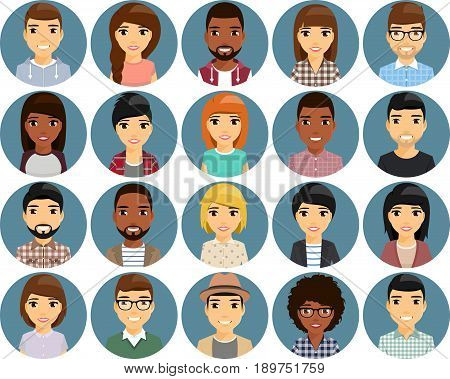 A set of twenty icons with the image of people's faces. Ethnic Africans and Europeans. Cute, smiling. On a white background. Cartoon.