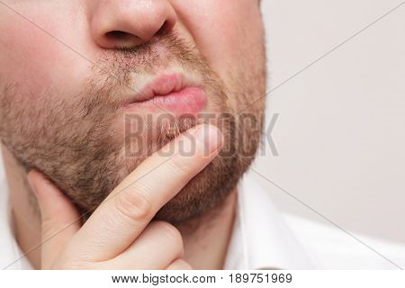 Portrait closeup caucasian confused skeptical man thinking. Human face expressions emotions feelings body language