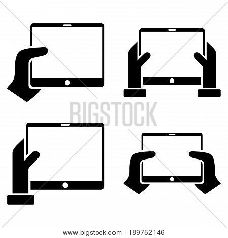 Hold Mobile Tab With Hands vector icon collection. Collection style is black flat symbols on a white background.
