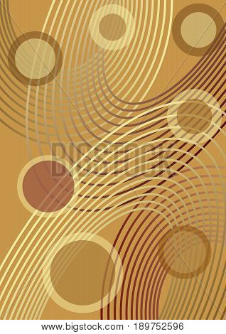 Elegant vector background tuned until golden, with outline ellipse and circles, transparency effect
