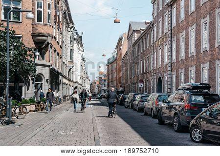 Copenhagen Denmark - August 10 2016. Street in historical city centre of Copenhagen. The bicycle is the typical mode of transport in Denmark