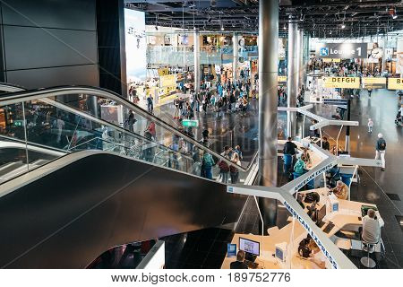 Amsterdam Netherlands - August 10 2016. Schiphol Airport. High angle view. It is the main international airport of the Netherlands