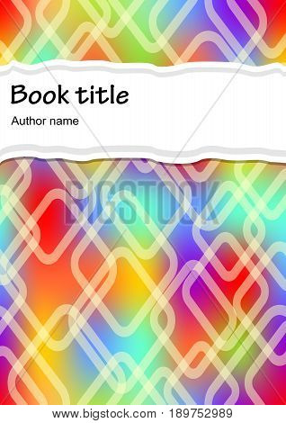 Modern vector rainbow abstract brochure, book, flyer design template with rainbow transparent rhomboid patterns