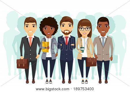 Team of different young people. The concept of cooperation in the team. Young businessmen lined up. In flat style on white background.