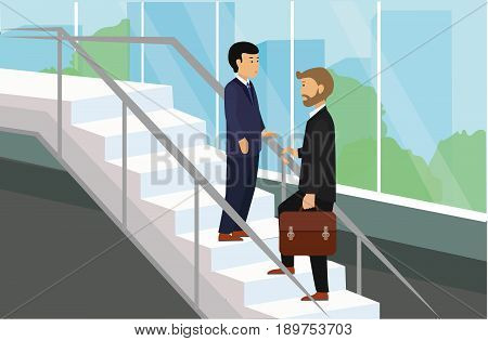 Business people standing on stairs talking. Businessmen Discussion Conceptual Illustration Vector