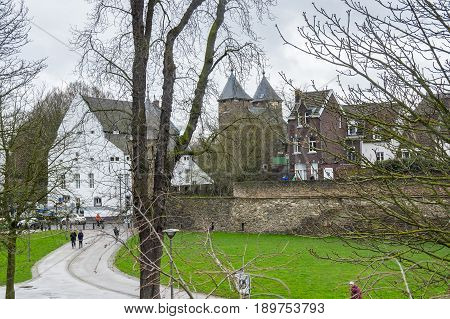 Street in the historical center of Maastricht a city and a municipality in the southeast of the Netherlands