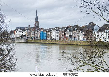 Embankment of the Meuse river in the historical center of Maastricht a city and a municipality in the southeast of the Netherlands