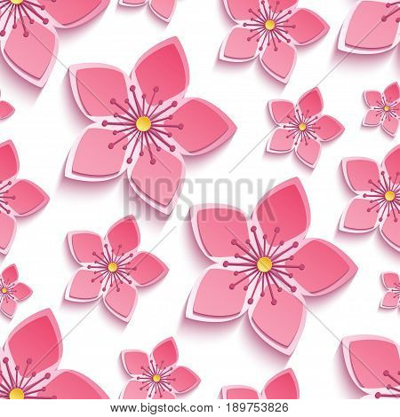 Trendy background seamless pattern with decorative pink 3d sakura blossom japanese cherry tree cutting paper. Floral stylish modern wallpaper with flowers. Vector illustration