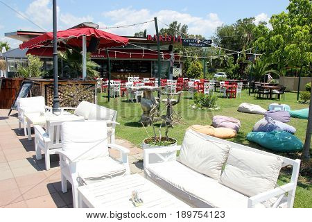 FETHIYE, TURKEY, 31ST MAY 2017 :Resturant seating along the promenade between calis and fethiye in turkey, 31st may 2017