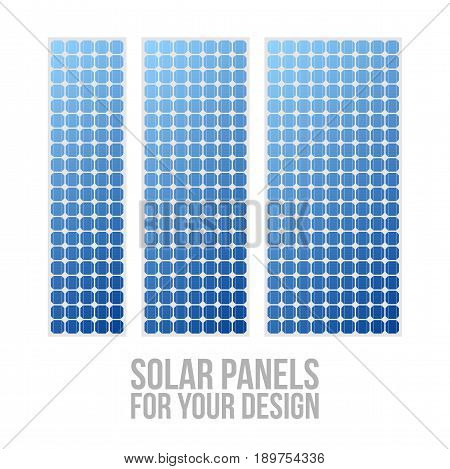 Photovoltaic electric solar Panel Patterns Set. Vector Illustration
