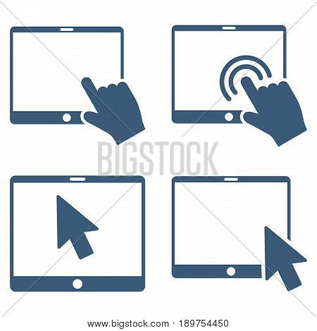 Mobile Tab Pointer vector icon clip art. Collection style is blue flat symbols on a white background.
