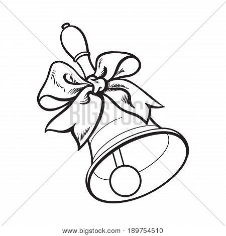 Traditional school bell with ribbon, black and white sketch style vector illustration isolated on white background. hand drawing of bell with ribbon, back to school symbol