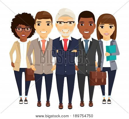 A young group of people in business suits standing behind the leader. Experienced leader ahead of a group of businessmen. In flat style on white background.