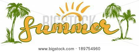 summer beach logo symbol vector illustration sketch isolated on white background