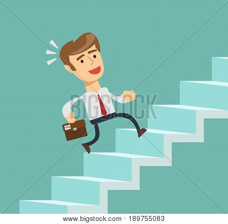 Businessman going up. Stock vector illustration for poster, greeting card, website, ad, business presentation, advertisement design