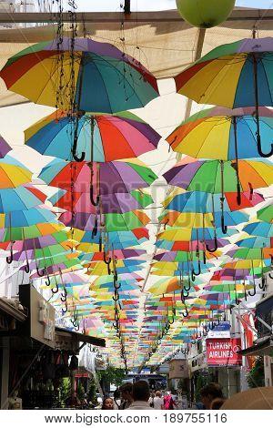 1ST JUNE 2017, FETHIYE, TURKEY :Artistic umbrellas on the streets in fethiye , turkey 1st june 2017