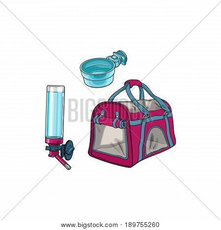 Pet travel carrier bag, feeding bowl and refillable drinker, sketch vector illustration isolated on white background. Hand drawn pet carrier bag, bowl and drinker for pet transportation