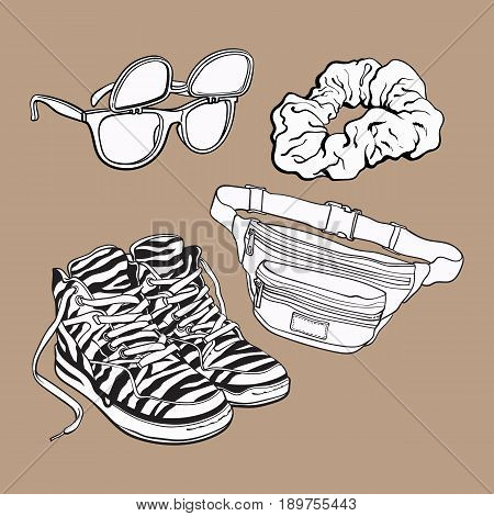 Retro pop culture items from 90s - scrunchie, sunglasses with removable lenses, zebra sneakers and waist pack, sketch illustration isolated on brown background.
