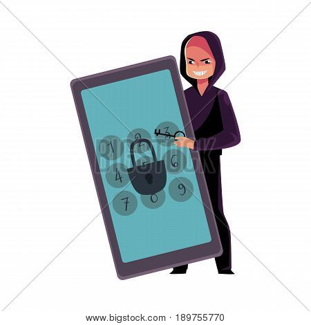 Hacker in black hoodie breaking phone, smartphone pin code, cracking screen lock, cartoon vector illustration isolated on white background. Hacking, breaking, cracking phone screen lock, pin code