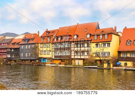 Bamberg city center view with river, half-timbered colorful houses on water