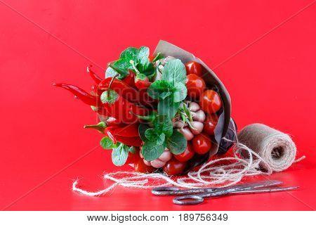 Big Unusual Bouquet Of Fresh Edible Vegetables (garlic, Green Beans, Cucumber, Radish, Bay Leaf, Pep
