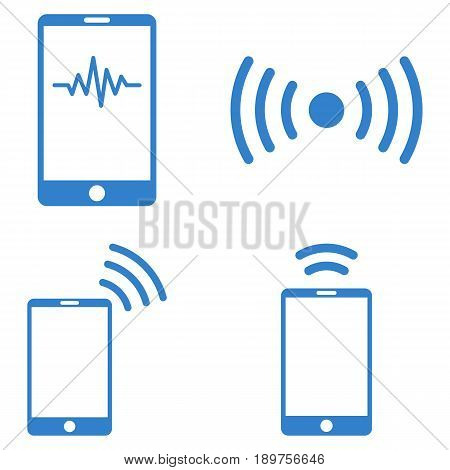 Mobile Signal vector icon clip art. Collection style is cobalt flat symbols on a white background.