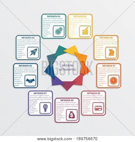 Colour triangles modern infographic template for business concept with 9 steps.