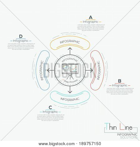 Circular diagram with text boxes and 4 rounded elements connected with center by arrows. Steps of business development concept. Infographic design template. Vector illustration in thin line style.