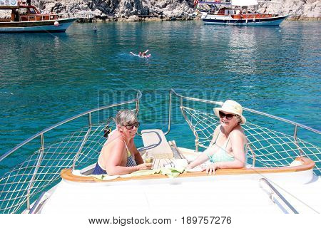 FETHIYE, TURKEY,1ST JUNE 2017,: Boat trips for tourists around the bays of fethiye in Turkey,1st june 2017
