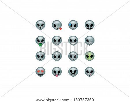 Set of  alien icon vector isolated on white background. Emoji vector. Extraterrestrial smile icon set. Emoticon icon web.