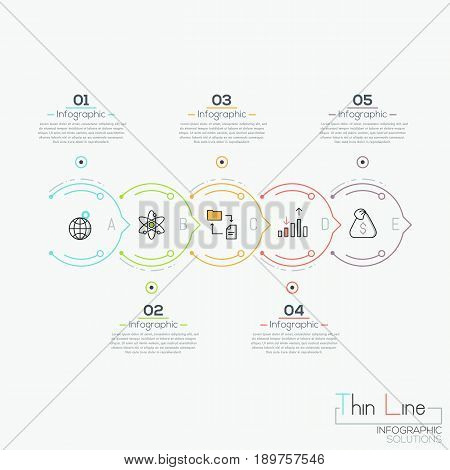 Horizontal diagram with 5 colored circular elements successively connected by arrows and text boxes. Infographic design layout. Project progress report concept. Vector illustration in thin line style.