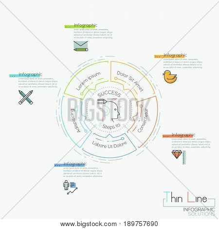 Infographic design layout, circular chart with 5 elements located around central pictogram and text boxes. Steps to business project success. Vector illustration in thin line style for presentation.