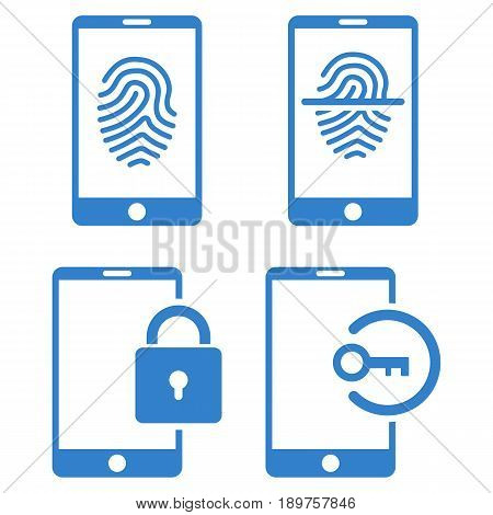 Smartphone Identification vector icon collection. Collection style is cobalt flat symbols on a white background.
