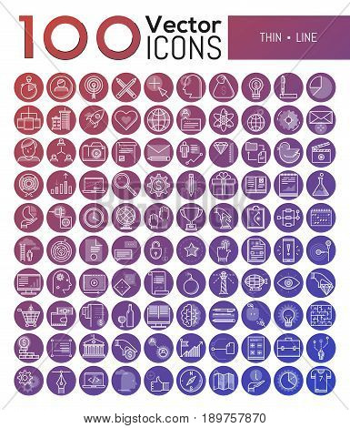 Bundle of 100 modern symbols in thin line style - business strategies, social media, problems solving, budget planning, internet education, global networking, touristic services. Vector illustration.