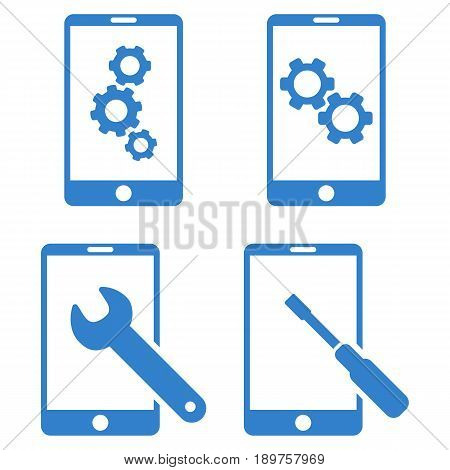 Smartphone Setup Tools vector icon clip art. Collection style is cobalt flat symbols on a white background.