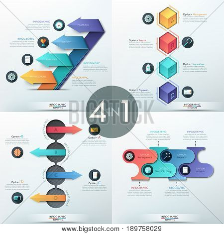 Set of 4 modern infographic design templates with four elements of different colors and shapes - arrows, cubes and rounded rectangles. Vector illustration for presentation, report, corporate website.