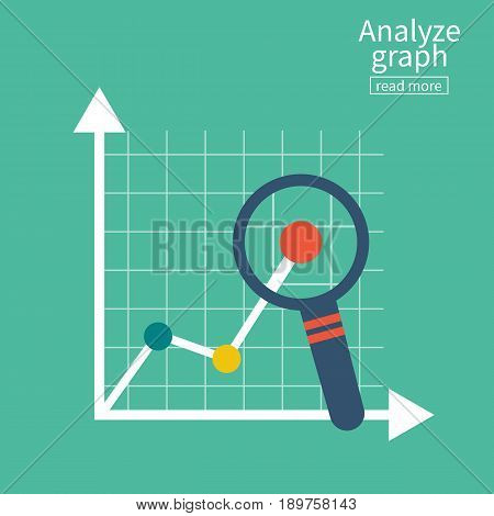 Analyze graph. Report growth. Magnifying glass showing rising bar chart statistics. Business concept. Vector illustration flat design. Isolated on white background. Research diagram, analytics audit.
