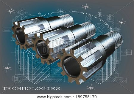 Three silvery metal shafts on a blue-gray background