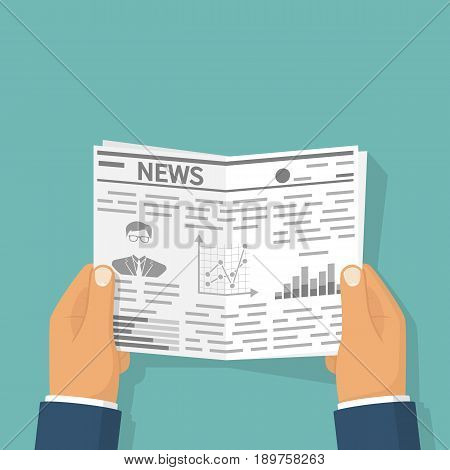 Businessman reading a newspaper. Business News. Daily gazette. Social media. Vector illustration flat design. Isolated on white background.