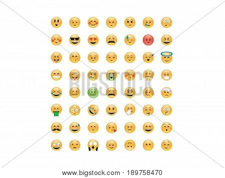 Set of Emoticon vector. Emoji vector. Smile icon set.  Emoticon icon web - stock vector.